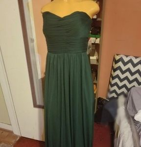 Strapless green gown